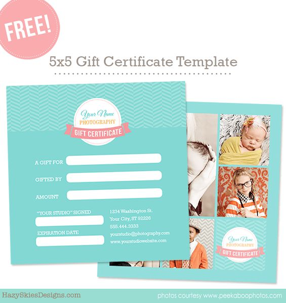Free Gift Card Template for Photographers Photoshop www ...