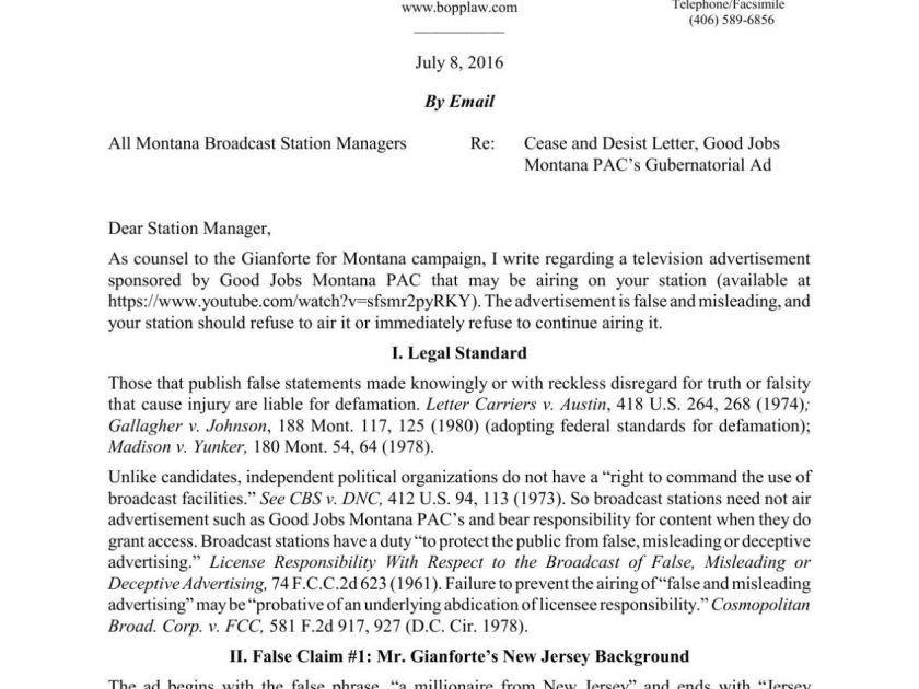Gianforte sends cease and desist against TV stations   Politics ...