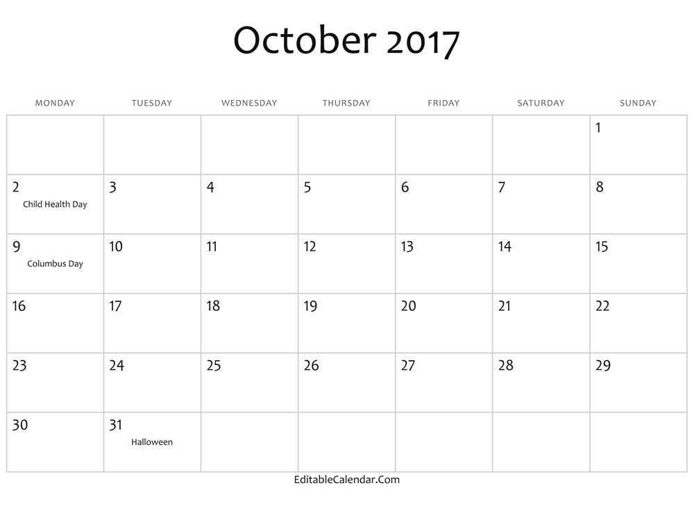 October 2017 Calendar Word | monthly calendar 2017
