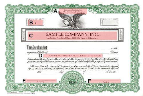 Short Form Blue Stock Certificate | Short Form Certificate