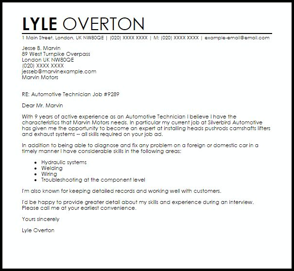 Automotive Technician Cover Letter Sample | LiveCareer