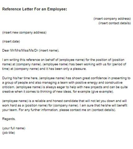 Reference Letter for an Employee Sample | Just Letter Templates