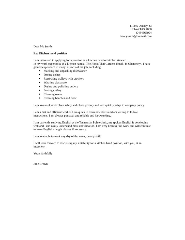 Basic Kitchen Helper Cover Letter Samples and Templates