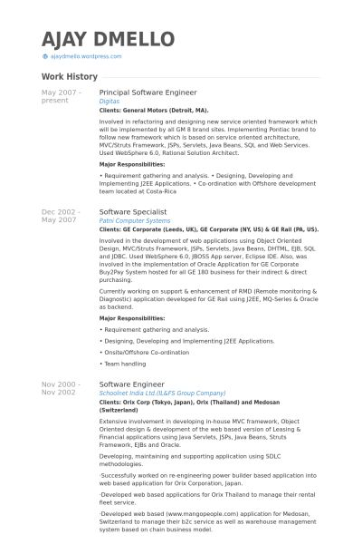 Principal Software Engineer Resume samples - VisualCV resume ...