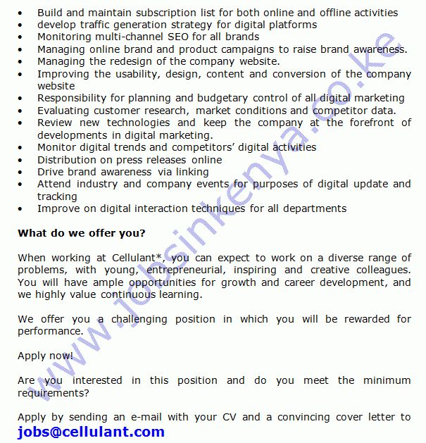 Cellulant Digital Marketing Manager Vacancy in Kenya | Jobs in ...