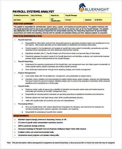Payroll Analyst Job Description. Job Description: Responsibilities ...