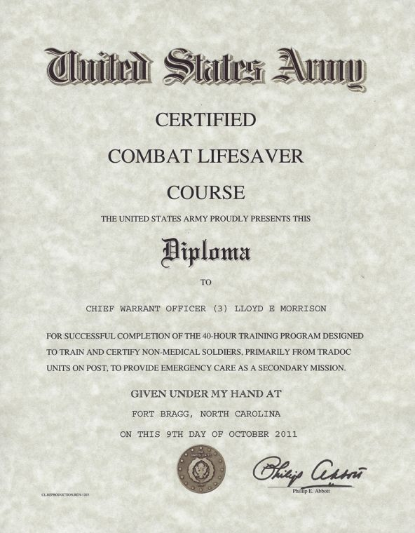 Army Certified Combat Lifesaver Certificate