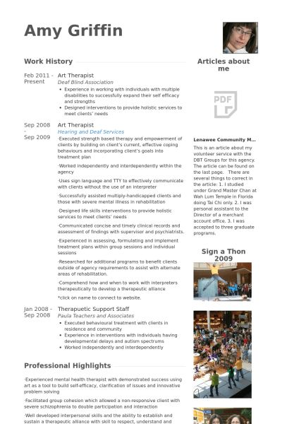 Therapist Resume samples - VisualCV resume samples database