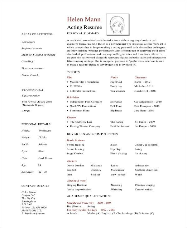 professional actor resume - thebridgesummit.co