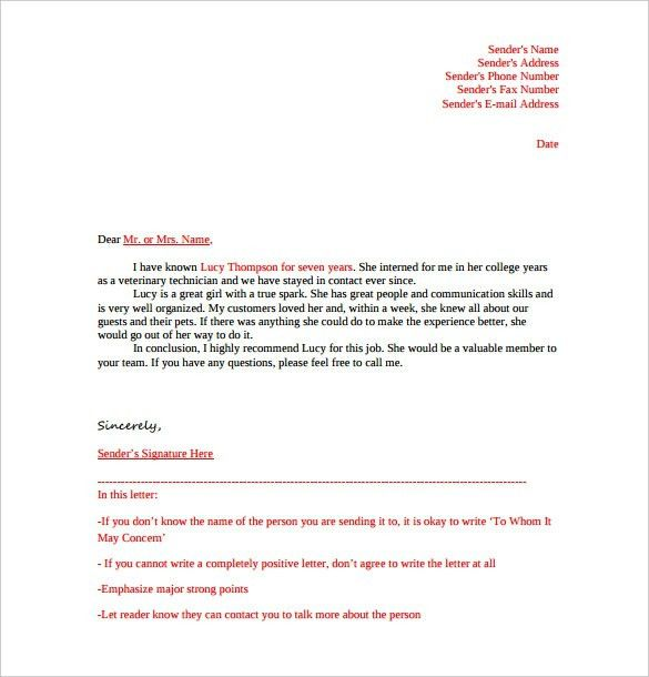 Recommendation Letter Formats. 8 College Recommendation Letter ...