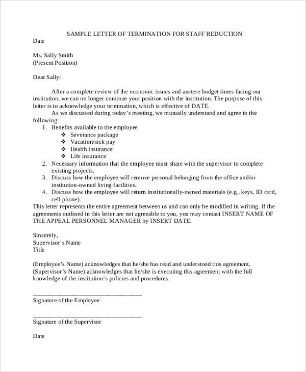 Sample Termination Letter - 7+ Documents in PDF, Word