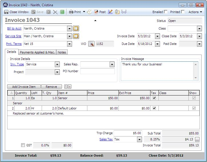 ServiceLedger - Software - Features - Service Invoicing