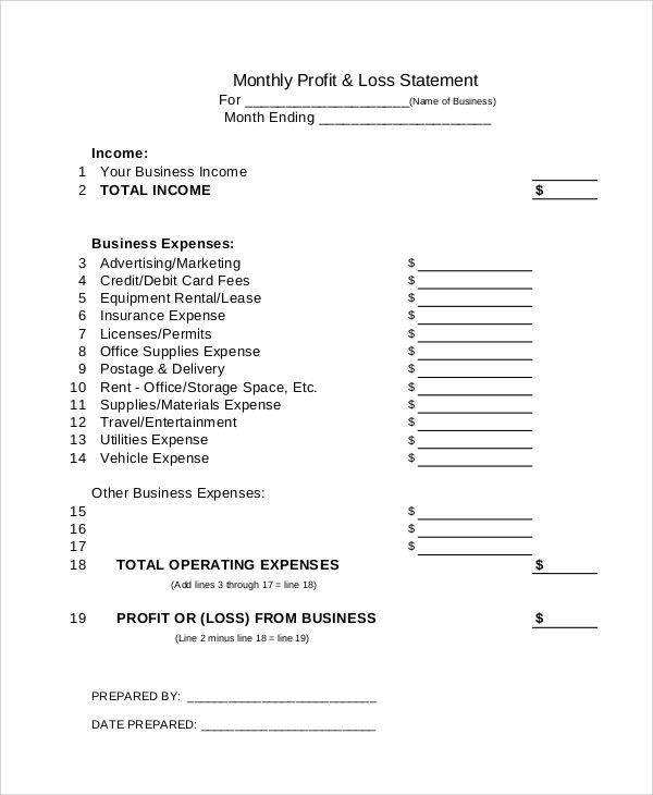 Basic Profit And Loss Statement Template Profit And Loss – Business Profit and Loss Statement for Self Employed
