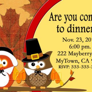 Cute Thanksgiving Dinner Invitation Card With Owls Picture And ...