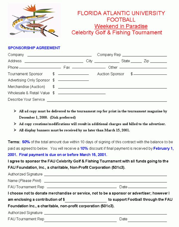 FAUSPORTS.COM Celebrity Golf And Fishing Tournament Sponsorship ...