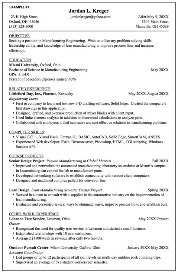 Manufacturing Engineering Resume Samples - http://exampleresumecv ...