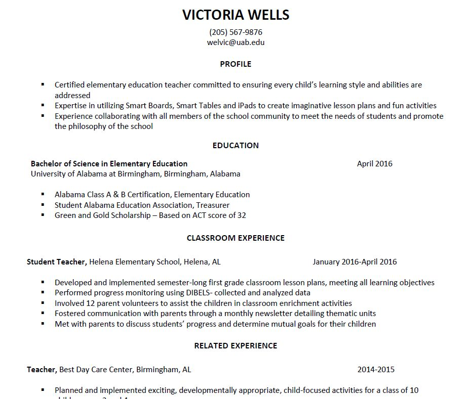UAB - Students - Career & Professional Development - Sample Resumes