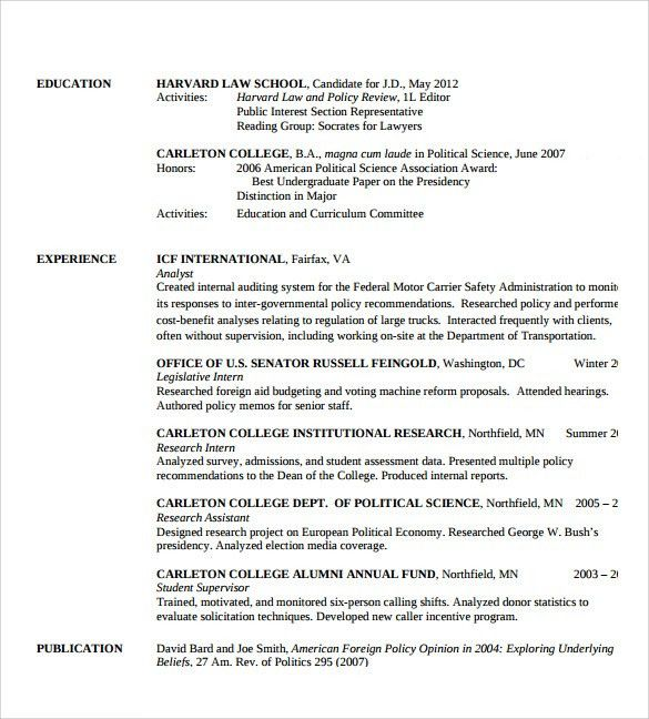 Sample Legal Resume Template - 13+ Free Documents in PDF, Word