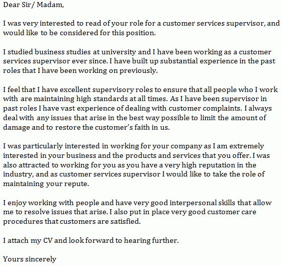 Customer Services Supervisor Cover Letter Example - Learnist.org