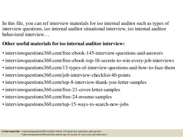 Top 10 iso internal auditor interview questions and answers