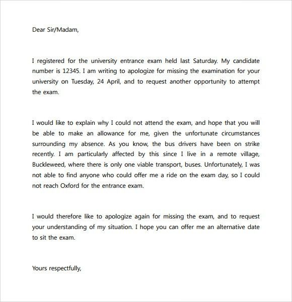 Formal Excuse Letter. Apology Letter For Not Attending Interview ...