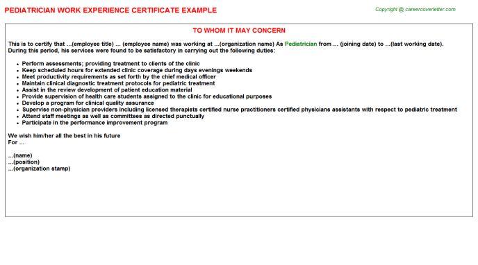 Pediatrician Work Experience Certificate