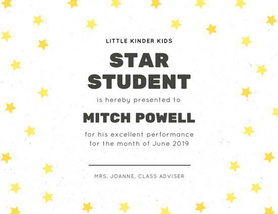 White with Yellow Stars and Line Student Certificate - Templates ...