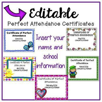 Free Download!! Perfect Attendance Certificates for the rest of ...