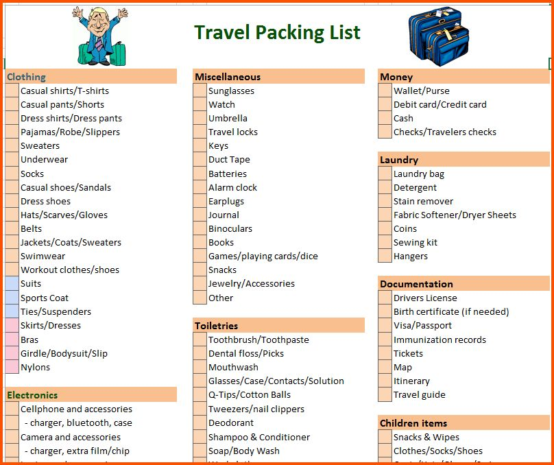 15+ packing list template | Survey Template Words