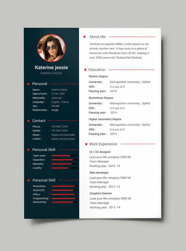 34 Free PSD CV/Resumes to find a good job! | Free PSD Templates