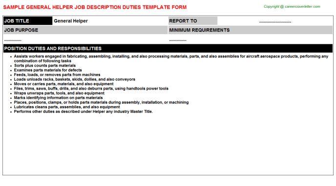 General Helper Job Descriptions