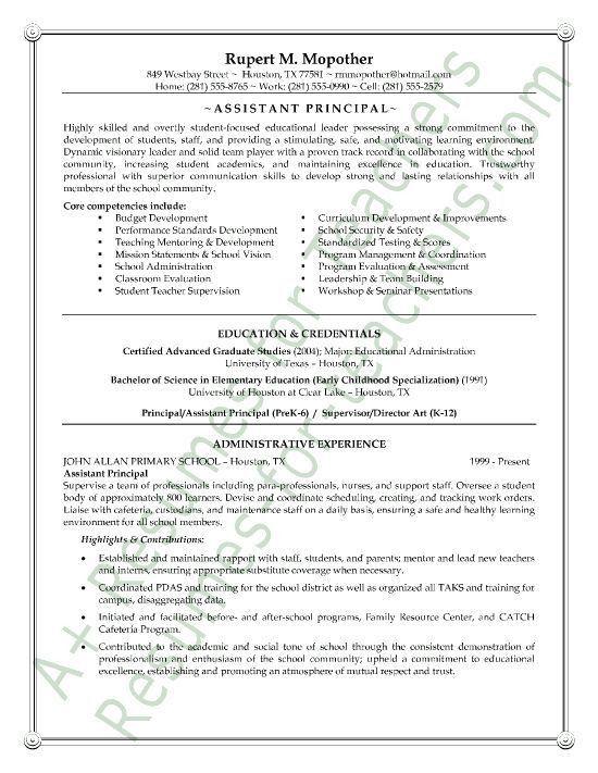 Assistant School Principal Resume or CV Sample a.k.a. Vice ...