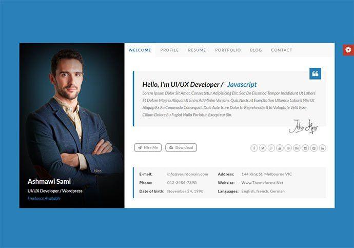 resume template website 50 best html resume cv vcard templates