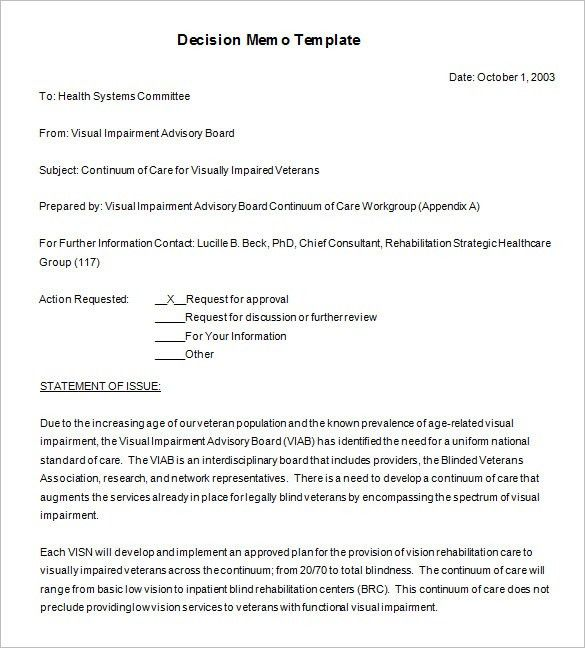8+ Decision Memo Templates – Free Word, PDF Documents Download ...