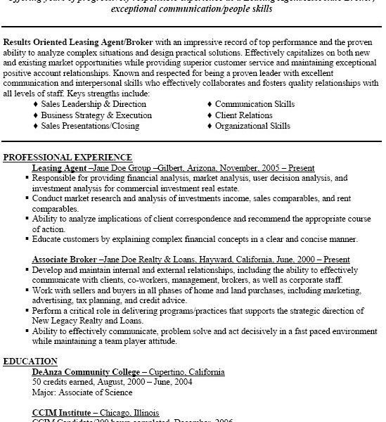 Resume For Leasing Agent 41 | Samples.csat.co
