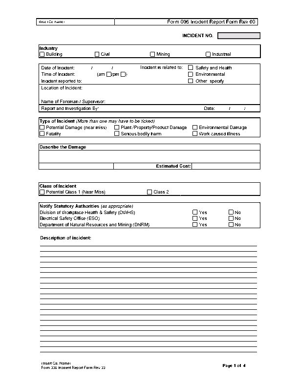 Form 006 - Incident Report Form (Word)