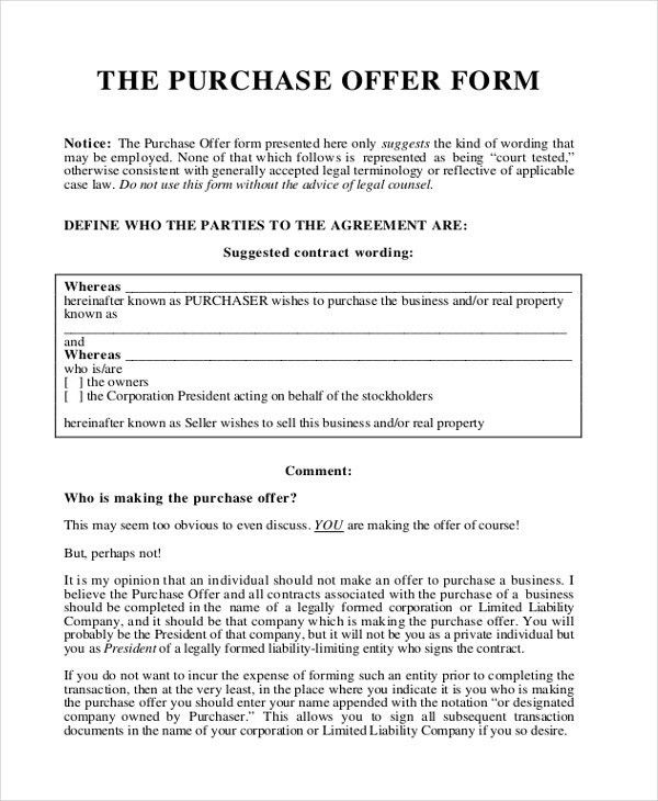 Business Purchase Offer Letter | The Letter Sample