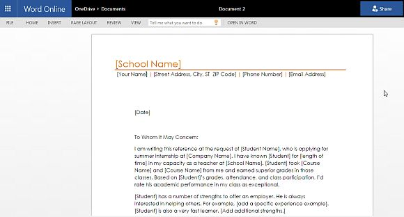 Student Reference Letter Template For Word