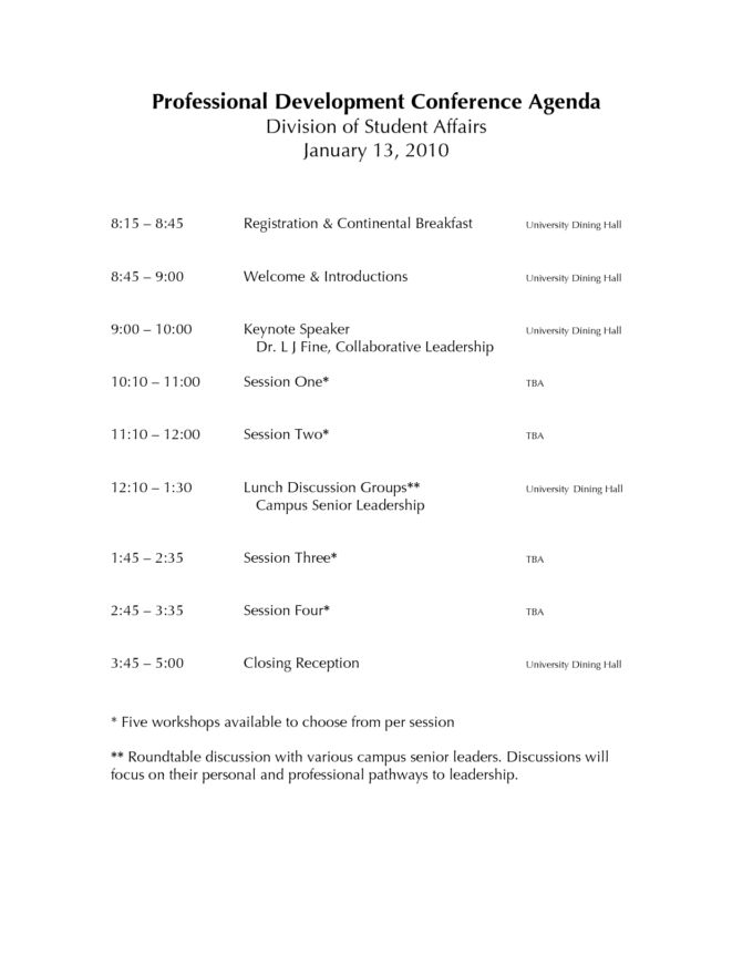 Professional Conference Agenda Layout And Template Sample : Vlcpeque