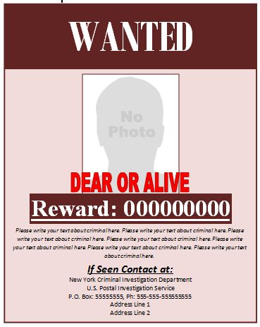 Wanted Poster Example | Microsoft Word Templates