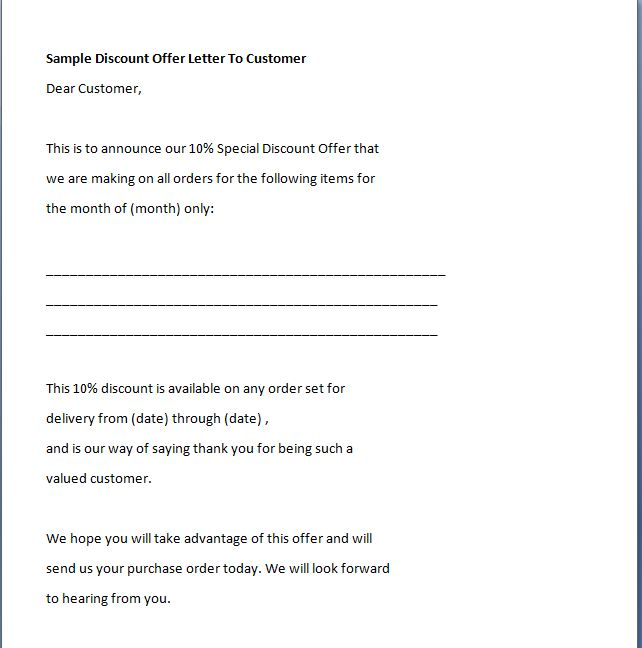 Discount Offer Letter To Customer - Writing Professional Letters