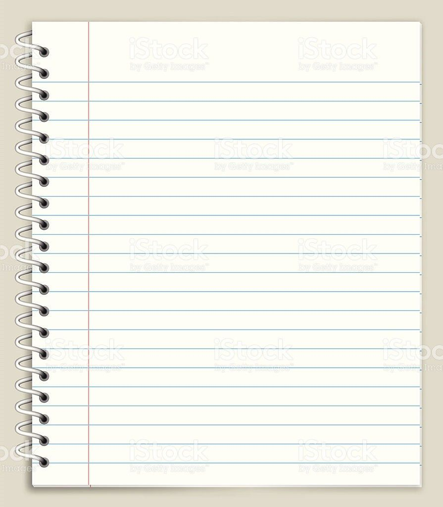 White Looseleaf Notebook Paper Royalty Free Vector Graphic stock ...
