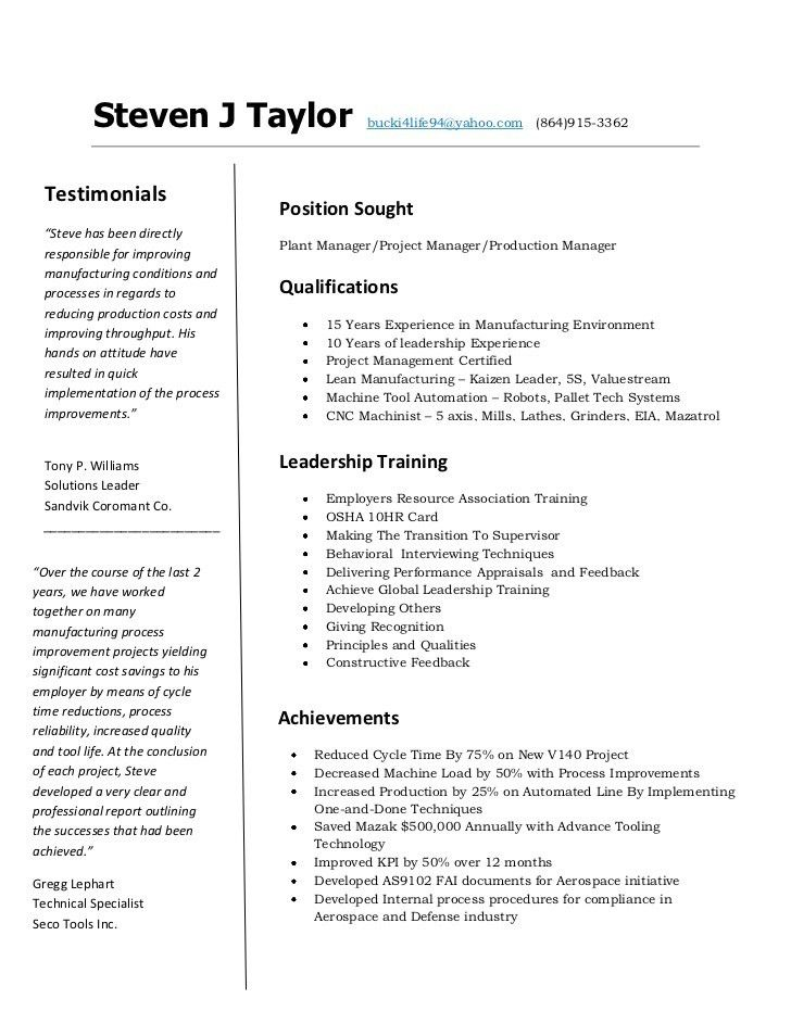 Resume Template Cnc Machinist - Contegri.com