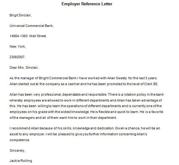 Free Sample Reference Letter For Employment | Samples.csat.co