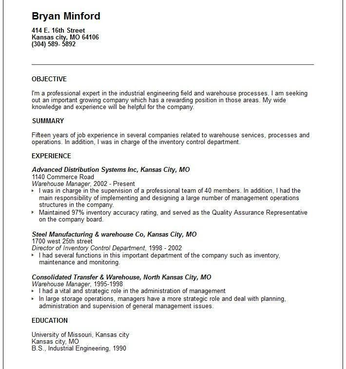 strikingly design resume for warehouse worker 8 combination resume ...