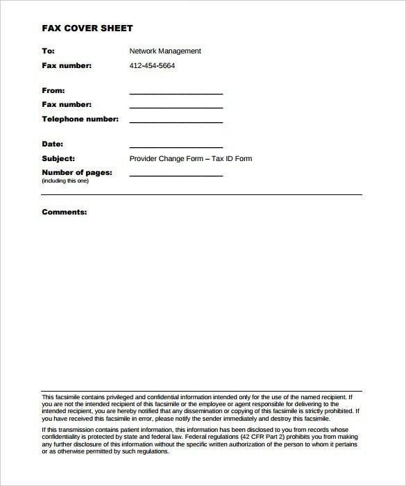 10+ Generic Fax Cover Sheet Templates – Free Sample, Example ...