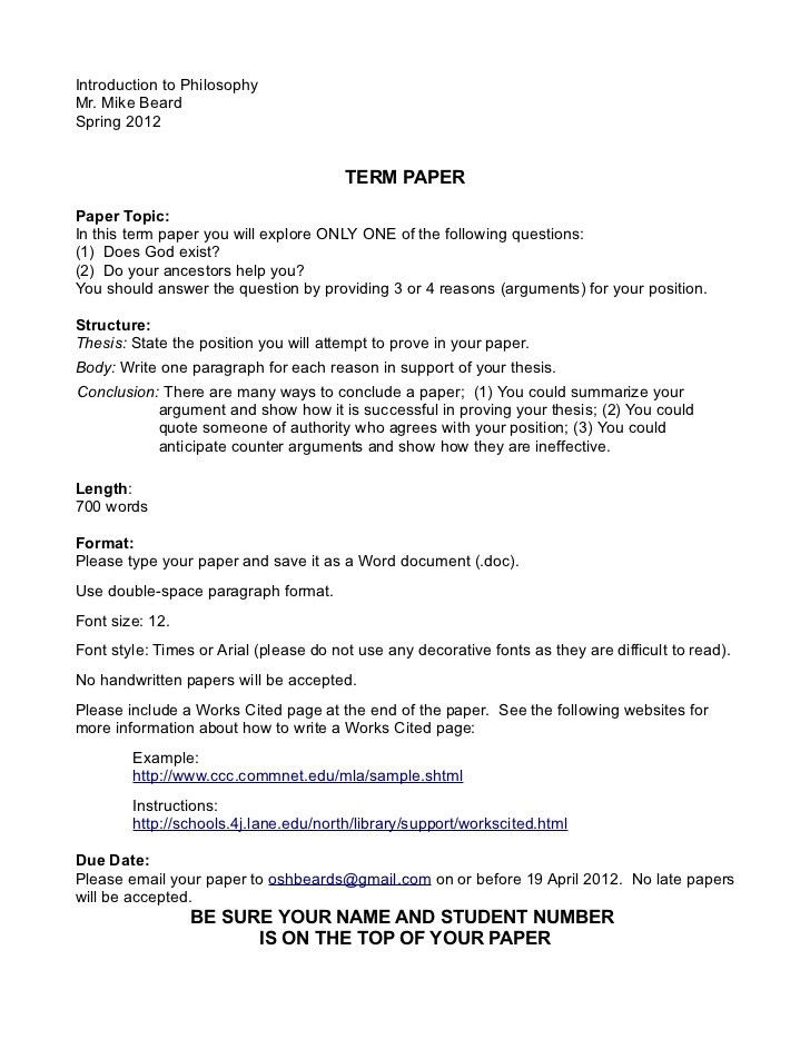 Intro to philosophy term paper