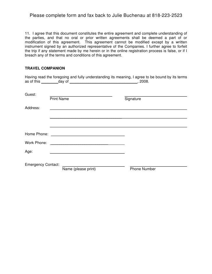 Free Printable Liability Document Form (GENERIC)