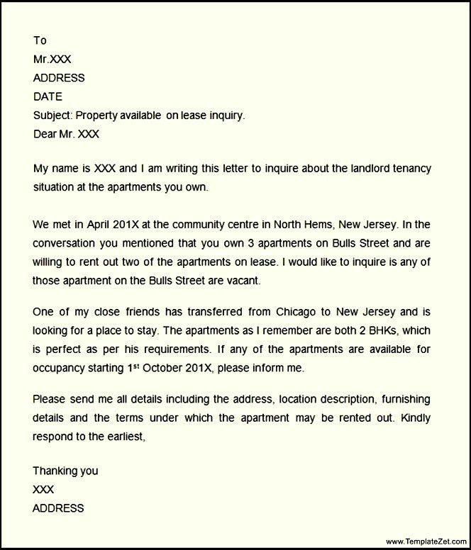 Letter of Inquiry Sample | TemplateZet