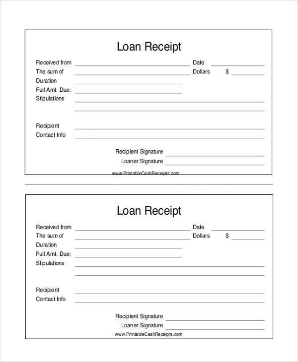 9+ Loan Receipt Templates - Free Sample, Example Format Download ...
